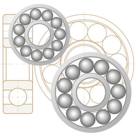 elemento de diseño de un cojinete mecánico. icono de la línea vector template.You puede utilizar en la energía, la energía, la máquina, el transporte Ilustración de vector