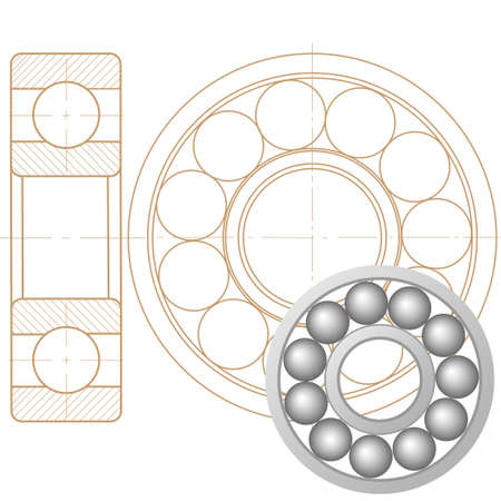 energy use: Design element of a mechanical bearing. Vector line icon template.You can use in energy, power, machine, transportation