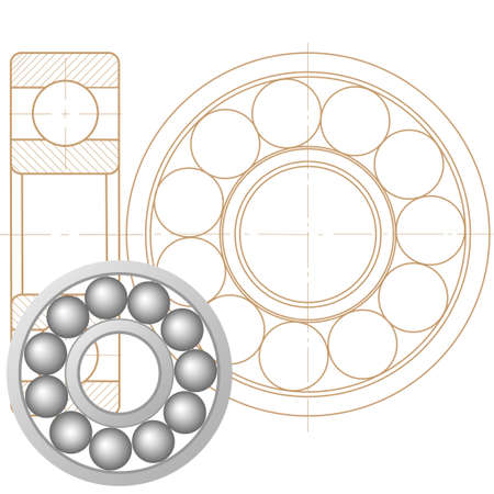 Design element of a mechanical bearing. Vector line icon template.You can use in energy, power, machine, transportation