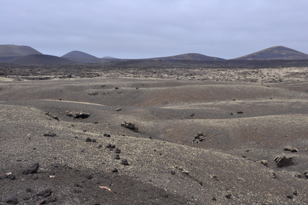 barren desert landscape on spanish volcanic island Lanzarote