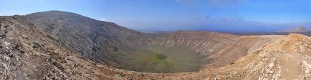 Panoramic crater view on spanish volcanic island Lanzarote