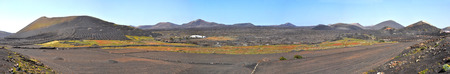 Panoramic landscape on spanish volcanic island Lanzarote