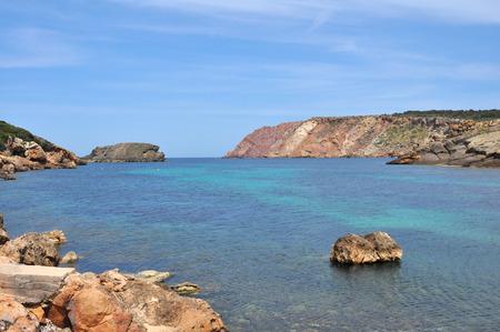 bay and turquoise sea in bay on spanish balearic island Menorca