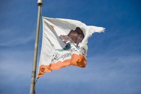 Flag of California on pole Imagens