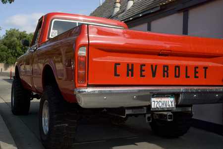 Rear of Red American Chevrolet pick-up truck - USA