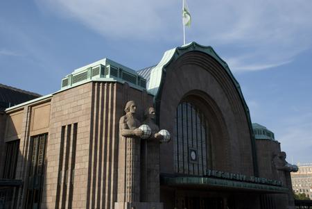 Art Deco portal of Helsinki train station in Finland