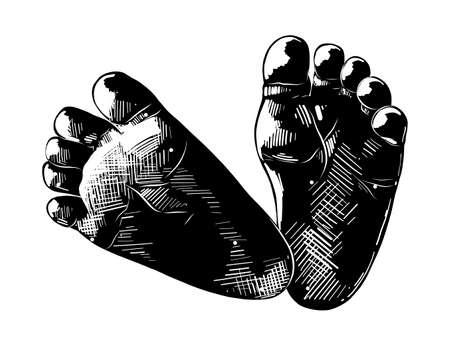 Vektor-gravierte Stilillustration für Poster, Dekoration und Druck. Handgezeichnete Skizze von Babyfüßen in Schwarz auf weißem Hintergrund. Detaillierte Vintage-Radierung-Stil-Zeichnung.