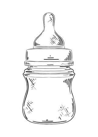 Vector engraved style illustration for posters, decoration and print. Hand drawn sketch of baby nipple bottle in black isolated on white background. Detailed vintage etching style drawing.