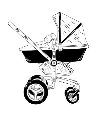 Vector engraved style illustration for posters, decoration and print. Hand drawn sketch of baby carriage in black isolated on white background. Detailed vintage etching style drawing.