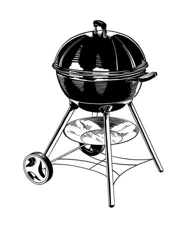 Vector engraved style illustration for posters, decoration and print. Hand drawn sketch of barbecue in black isolated on white background. Detailed vintage etching style drawing. Illustration