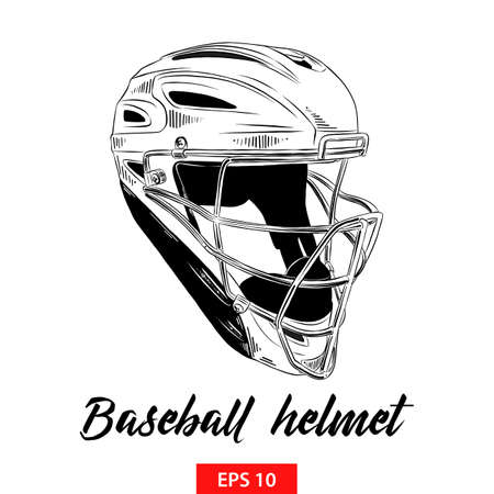 Vector engraved style illustration for posters, decoration and print. Hand drawn sketch of baseball helmet in black isolated on white background. Detailed vintage etching style drawing.