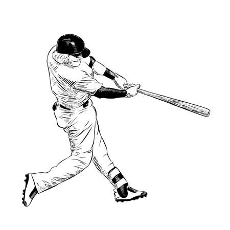 Vector engraved style illustration for posters, decoration and print. Hand drawn sketch of baseball player in black isolated on white background. Detailed vintage etching style drawing. Иллюстрация