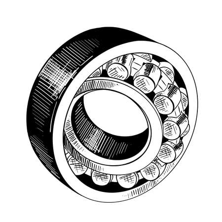 Vector engraved style illustration for posters, decoration and print. Hand drawn sketch of metal bearing in black isolated on white background. Detailed vintage etching style drawing. Ilustração