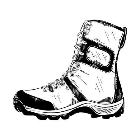 Illustration vectorielle de style gravé pour les affiches, la décoration et l'impression. Croquis dessiné à la main de botte de trekking en noir isolé sur fond blanc. Dessin de style gravure vintage détaillé.