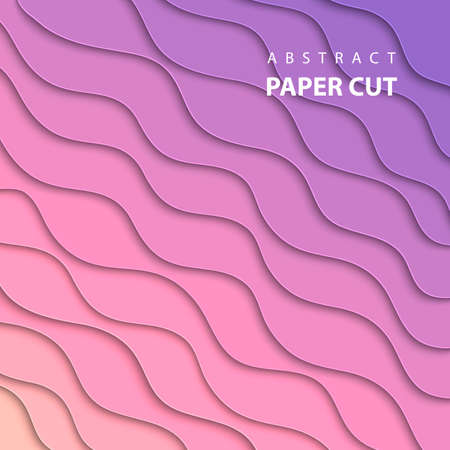 Vector background with pink and lila gradient color paper cut shapes. 3D abstract paper art style, design layout for business presentations, flyers, posters, prints, decoration, cards, brochure cover.