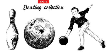 Vektor-gravierte Stilillustration für Poster, Dekoration und Druck. Handgezeichnete Skizzensatz Bowling-Spieler, Pin und Ball isoliert auf weißem Hintergrund. Detaillierte Vintage Radierung Zeichnung.