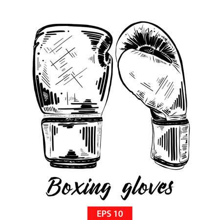 Illustration vectorielle de style gravé pour les affiches, la décoration et l'impression. Croquis dessiné main de gants de boxe en noir isolé sur fond blanc. Dessin de style gravure vintage détaillé.