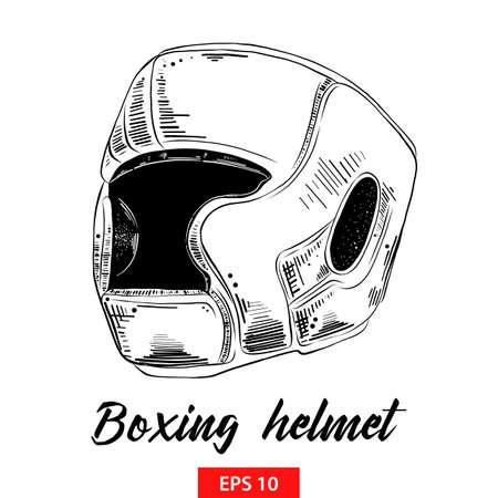 Illustration vectorielle de style gravé pour les affiches, la décoration et l'impression. Croquis dessiné main de casque de boxe en noir isolé sur fond blanc. Dessin de style gravure vintage détaillé.