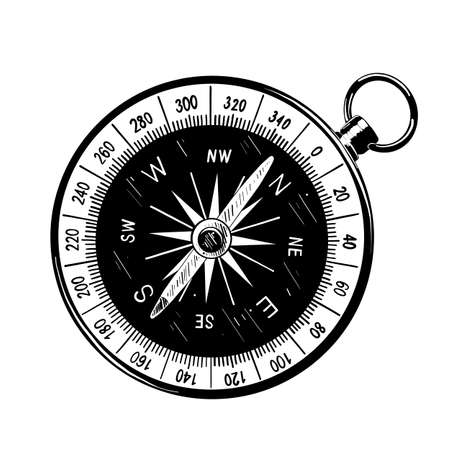 Vector engraved style illustration for posters, decoration and print. Hand drawn sketch of compass in black isolated on white background. Detailed vintage etching style drawing.