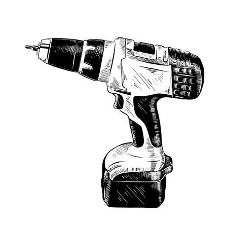 Vector engraved style illustration for posters, decoration and print. Hand drawn sketch of electric drill tool in black isolated on white background. Detailed vintage etching style drawing.