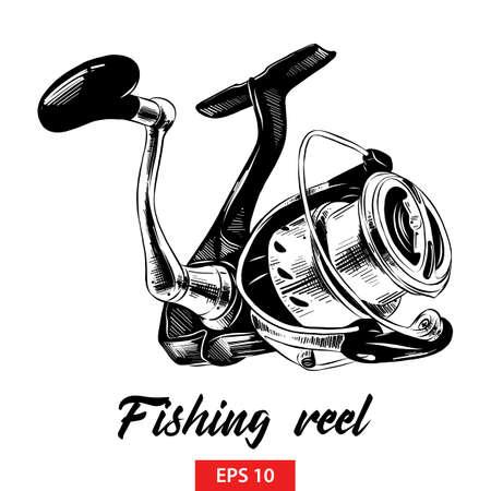 Illustration vectorielle de style gravé pour les affiches, la décoration et l'impression. Croquis dessiné main de moulinet de pêche en noir isolé sur fond blanc. Dessin de style gravure vintage détaillé.