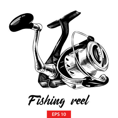 Vector engraved style illustration for posters, decoration and print. Hand drawn sketch of fishing reel in black isolated on white background. Detailed vintage etching style drawing.