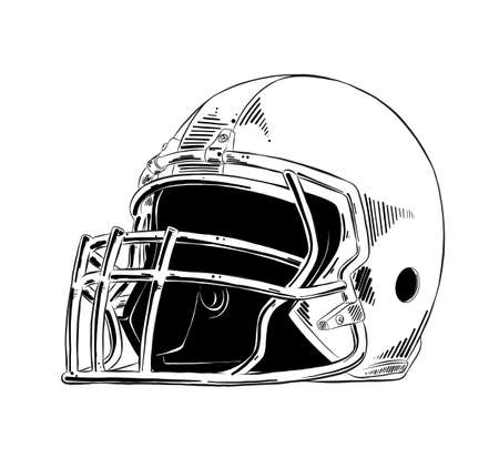 Vector engraved style illustration for posters, decoration and print. Hand drawn sketch of american football helmet in black isolated on white background. Detailed vintage etching style drawing. Stok Fotoğraf - 114489015