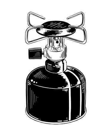 Vector engraved style illustration for posters, decoration and print. Hand drawn sketch of camping gas stove in black isolated on white background. Detailed vintage etching style drawing.