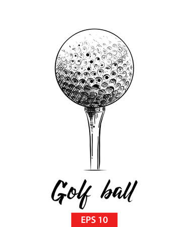 Vector engraved style illustration for posters, decoration and print. Hand drawn sketch of golf ball in black isolated on white background. Detailed vintage etching style drawing.