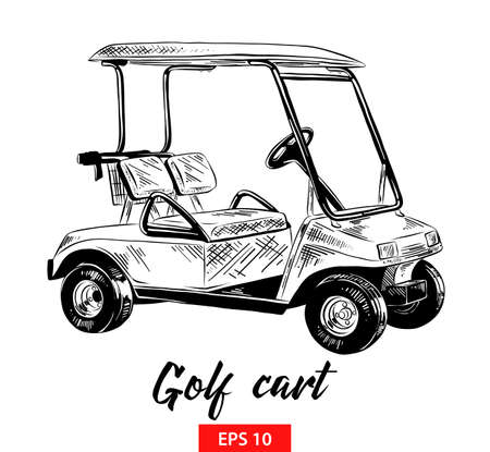Vector engraved style illustration for posters, decoration and print. Hand drawn sketch of golf cart in black isolated on white background. Detailed vintage etching style drawing. Illustration
