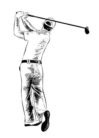 Vector engraved style illustration for posters, decoration and print. Hand drawn sketch of golfer in black isolated on white background. Detailed vintage etching style drawing. Illustration