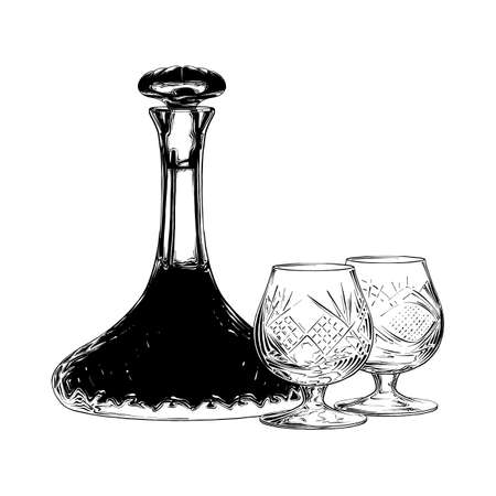 Vector engraved style illustration for posters, decoration and print. Hand drawn sketch of Jewish wine in black isolated on white background. Detailed vintage etching style drawing. Illustration