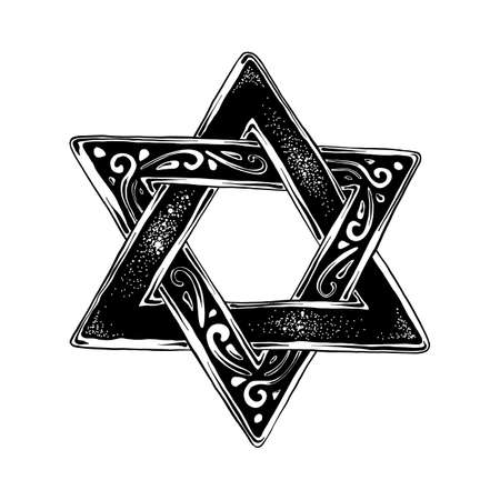 Vector engraved style illustration for posters, decoration and print. Hand drawn sketch of Jewish Davids star in black isolated on white background. Detailed vintage etching style drawing.