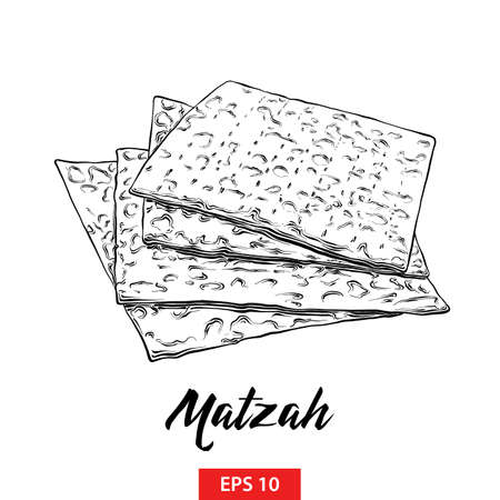 Vector engraved style illustration for posters, decoration and print. Hand drawn sketch of Jewish Passover matzah in black isolated on white background. Detailed vintage etching style drawing.