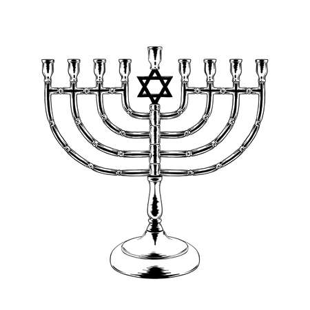 Vector engraved style illustration for posters, decoration and print. Hand drawn sketch of Jewish candlesticks in black isolated on white background. Detailed vintage etching style drawing.
