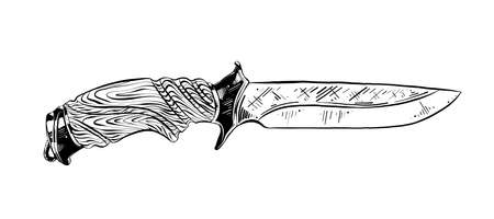 Vector engraved style illustration for posters, decoration and print. Hand drawn sketch of hunting knife in black isolated on white background. Detailed vintage etching style drawing. Ilustracja