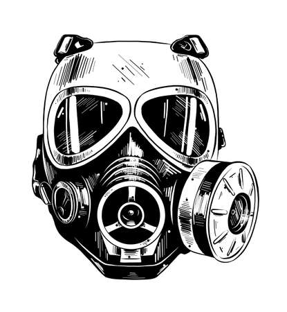 Vector engraved style illustration for posters, decoration and print. Hand drawn sketch of paintball mask in black isolated on white background. Detailed vintage etching style drawing.