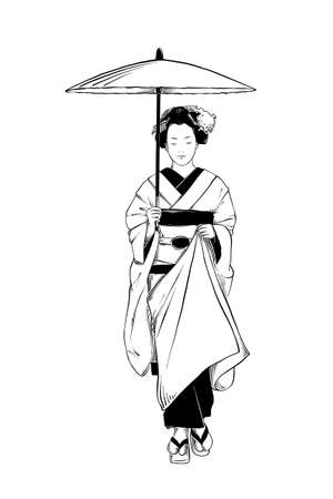 Vector engraved style illustration for posters, decoration and print. Hand drawn sketch of japanese geisha isolated on white background. Detailed vintage etching drawing.