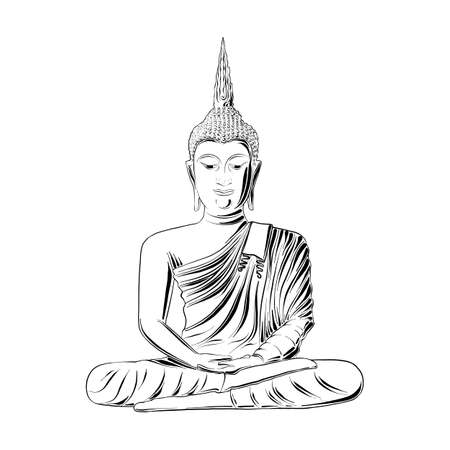 Vector engraved style illustration for posters, decoration and print. Hand drawn sketch of Buddha statue in black isolated on white background. Detailed vintage etching style drawing.