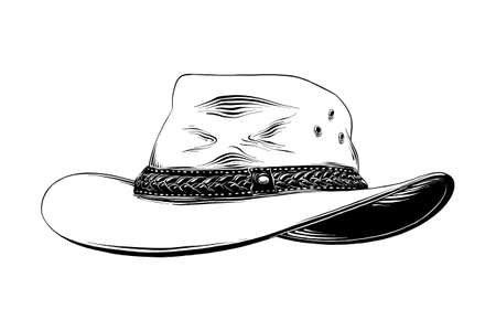 Vector engraved style illustration for posters, decoration and print. Hand drawn sketch of western cowboy hat in black isolated on white background. Detailed vintage etching style drawing. Çizim