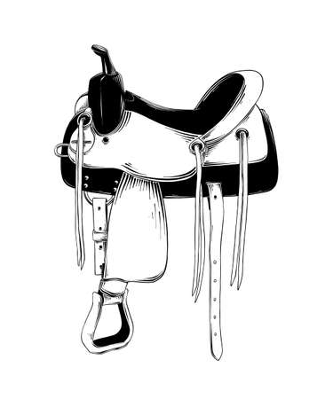 Vector engraved style illustration for posters, decoration and print. Hand drawn sketch of western saddle isolated on white background. Detailed vintage etching drawing.