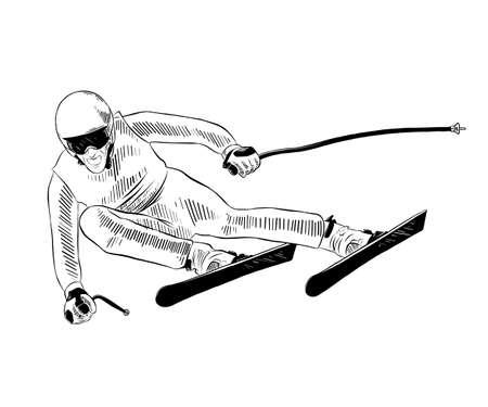 Ilustracja wektorowa grawerowane stylu plakatów, dekoracji i druku. Ręcznie rysowane szkic narciarza na czarno na białym tle. Szczegółowy rysunek w stylu vintage akwaforty.