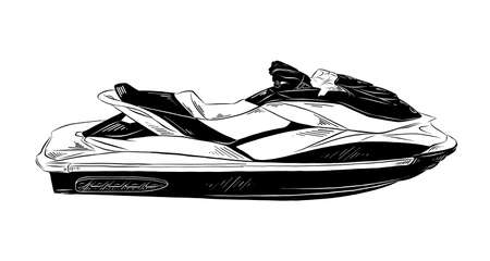 Vector engraved style illustration for posters, decoration and print. Hand drawn sketch of jet ski in black isolated on white background. Detailed vintage etching style drawing.