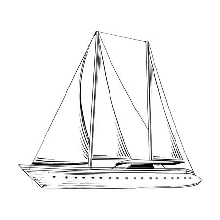 Vector engraved style illustration for posters, decoration and print. Hand drawn sketch of sea ship in black isolated on white background. Detailed vintage etching style drawing. Vektoros illusztráció