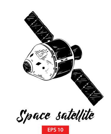 Ilustración de estilo grabado vectorial para carteles, decoración e impresión. Boceto dibujado mano del satélite espacial en negro aislado sobre fondo blanco. Dibujo detallado de estilo de grabado vintage.
