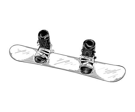 Vector engraved style illustration for posters, decoration and print. Hand drawn sketch of snowboard in black isolated on white background. Detailed vintage etching style drawing. Illustration