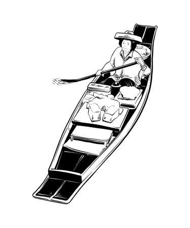 Ilustración de estilo grabado vectorial para carteles, decoración e impresión. Boceto dibujado a mano del mercado flotante tailandés en negro aislado sobre fondo blanco. Dibujo detallado de estilo de grabado vintage. Ilustración de vector