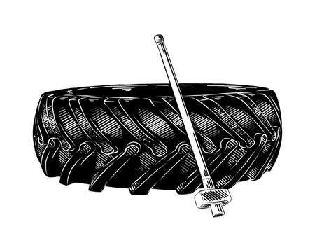 Ilustración de estilo grabado vectorial para carteles, decoración e impresión. Boceto dibujado mano del neumático de entrenamiento y hummer en negro aislado sobre fondo blanco. Dibujo detallado de estilo de grabado vintage. Ilustración de vector
