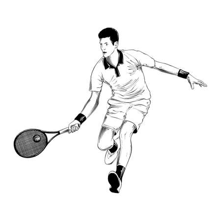 Vector engraved style illustration for posters, decoration and print. Hand drawn sketch of tennis player in black isolated on white background. Detailed vintage etching style drawing.