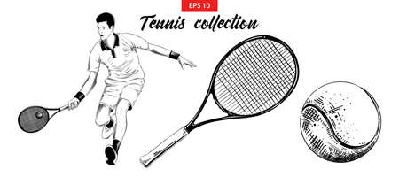 Vector engraved style illustration for posters, decoration and print. Hand drawn sketch set of tennis player, tennis racket and ball isolated on white background. Detailed vintage etching drawing.
